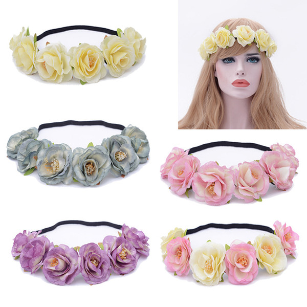 European and American Women's Imitation Small Rose Elastic Hair Bridal Headband