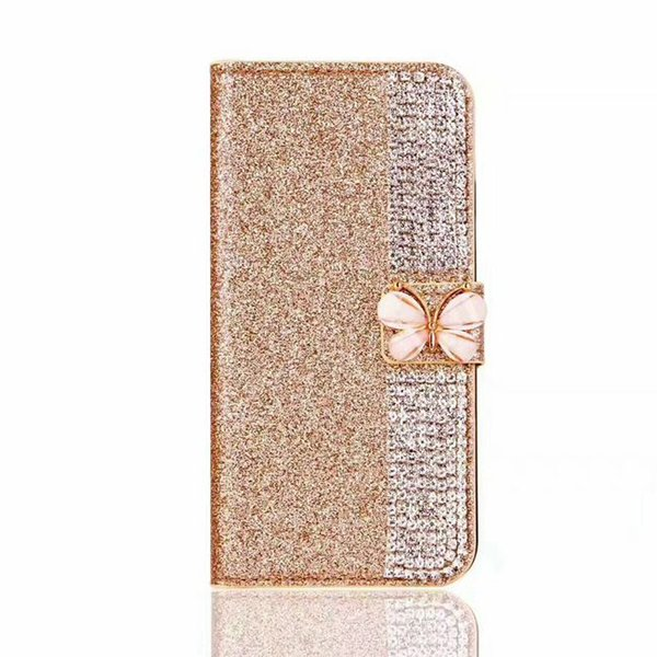 new styles 3286f d3bf5 For IPhone 8 Plus X 7 6S 5S TPU Leather Bling Bling Colorful Bow Wallet  Case Pouch Luxury Soft Pink Cover Opp Bag Personalized Cell Phone Cases ...