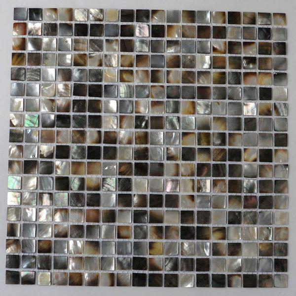 [FRETE GRÁTIS] cor Natural 15mm x 15mm mãe de mosaico shell pérola, backer de malha, telha shell Blacklip (MS205)