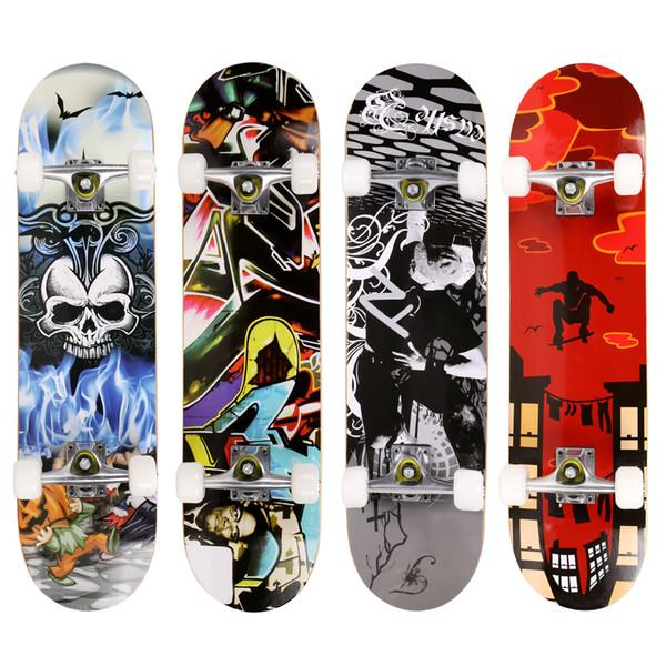 Оптово-Бренд PRO Skull Pattern Longboard Скейтборд Полный Палуба Деревянная Палуба Скейтборд Открытый Экстремальный Спорт Длинная Доска Hoverboard