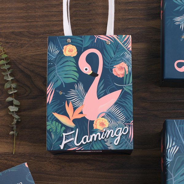 1 Pcs Flamingo Fresh Vertical Version of The Gift Bag Portable Packaging Bag Paper Bag Candies Handbags Party Decoration