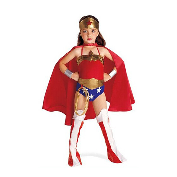 child wonder woman costume girl cosplay clothing red halloween costume kids superhero 6pc clothes s xl wonder woman 2016
