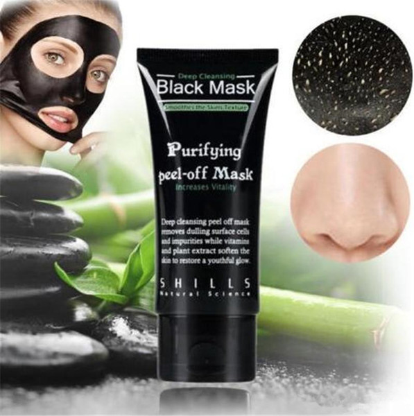 SHILLS Black Mask Blackhead Remover Deep Care Limpiador Peel Off Black Mud Mask Purificante Peel Acne Black Heads Remover Máscara Facial de Poro