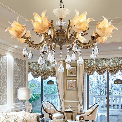 Copper crystal chandeliers high class luxury noble American European style chandelier lights living room bedroom dining room hotel hall