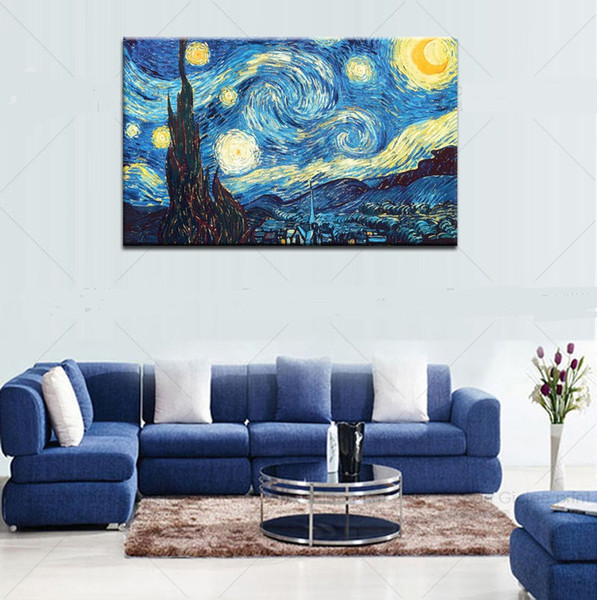 Framed Starry Night by Vincent Van Gogh,Pure Handpainted Art Oil Painting On Quality Canvas Wall Decor Multi Sizes Free Shipping Vg010