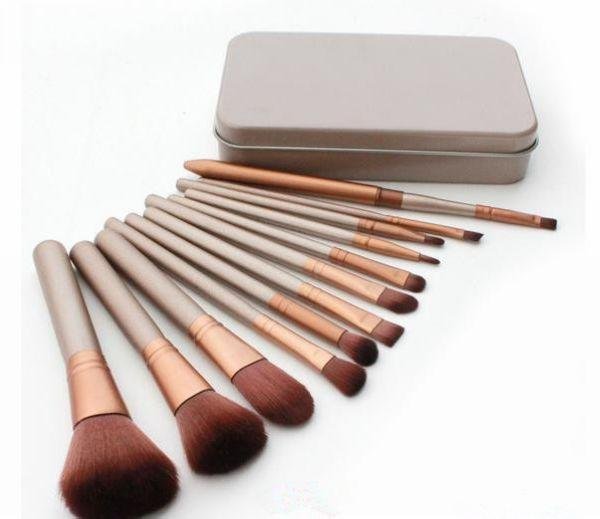 Free Shipping ePacket New Makeup Brushes NO:3 12 Pieces Brush With Iron Box! happy_xinxin