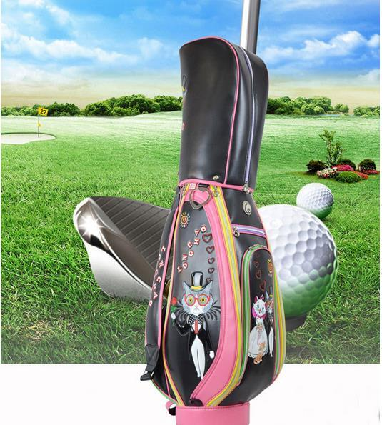 best selling 2017 fashion black white pink golf bag men women pu leather club ball bags sports golf club bag free send 3 golf head covers