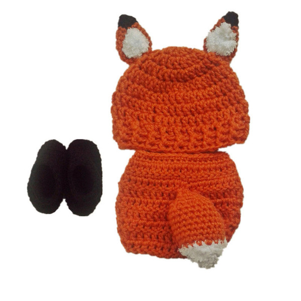 Lovely Newborn Fox Costume,Handmade Knit Crochet Baby Boy Girl Animal Hat,Booties and Diaper Cover Set,Toddler Halloween Photography Prop