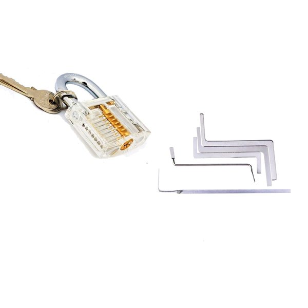 Locksmith Tools Transparent Practice Lock and 5pcs Wrench Tension Tools Set