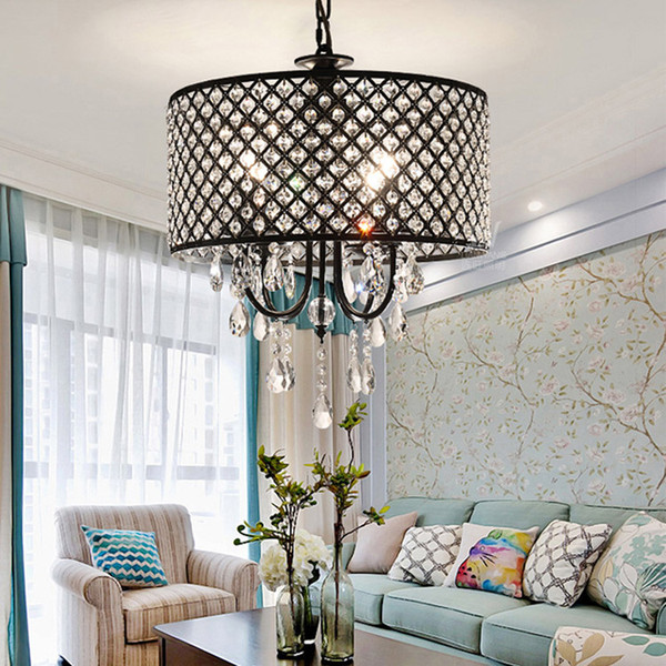 Nórdico Americano lustre de cristal lustres de cristal de cristal luzes baratas Ferro Sala de estar, sala de jantar, luz do quarto