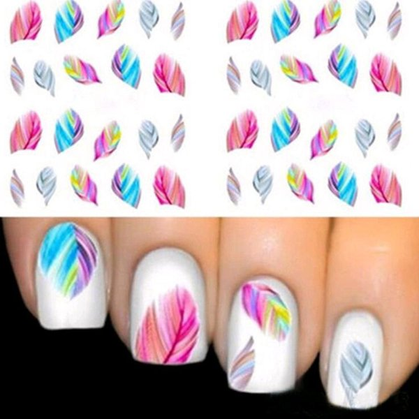 Fashionable Nail Decorations Art Tips Feather Water Transfers Nail