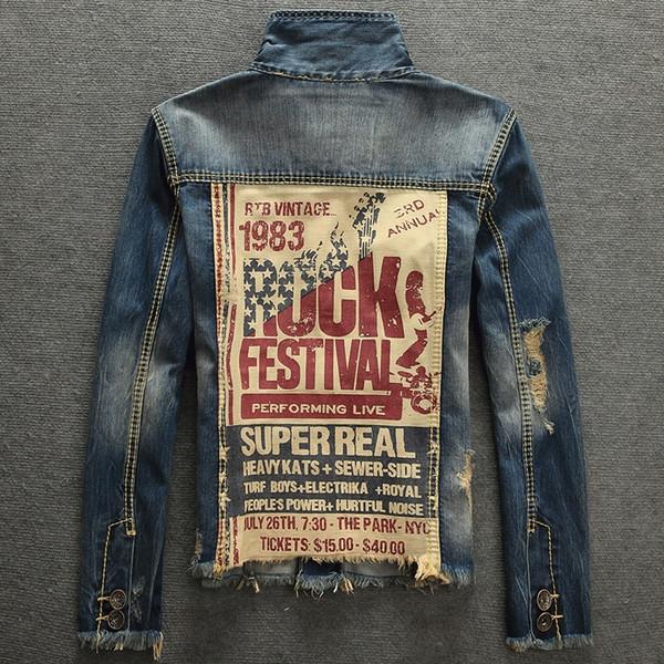 Hommes Vintage Rock Imprimer Punk Veste Manches Longues COOL Slim Fit Demin Outwear Veste En Jean Ajouter épaississement des cheveux cowboy contraignant son manteau
