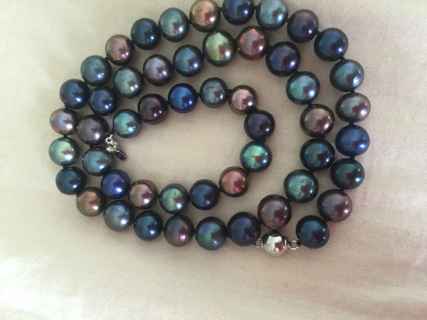 Прекрасный жемчуг ювелирные изделия stunning9-10мм таитянский многоцветный черный зеленый Красный жемчуг ожерелье 19 дюймов