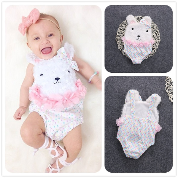 Mikrdoo Sweet Baby Rompers Fashion Infant Dot Cute Bowknot Clothing Sleeveless Cartoon Rabbit One Piece Jumpsuit Newborn Kids Girl Clothes