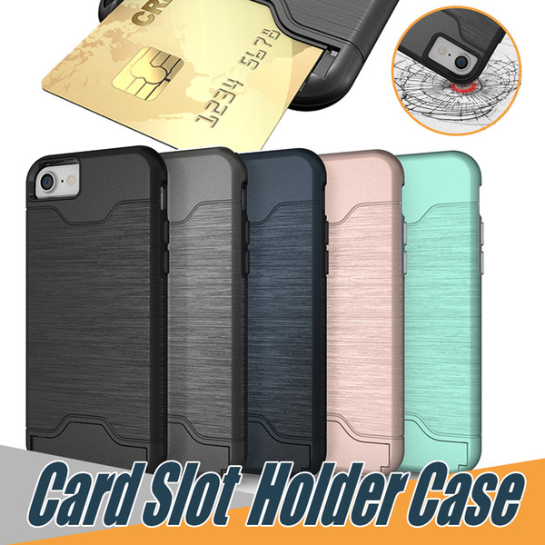 For iPhone XS MAX XR 8 plus Card Slot Holder Cover Case for Galaxy S9 Plus iPhone 8 Plus Rugged Phone Holder Kickstand Case with OPP Bag