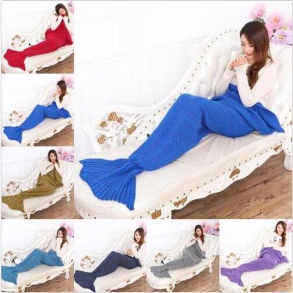 best selling Mermaid Baby Sleeping Bags Knitted Kids Mermaid Blankets Crochet Siesta Cocoon Mattress Christmas Mermaid Tail Blankets Sofa Gifts New C3067