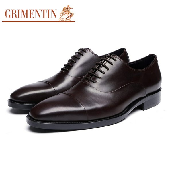 GRIMENTIN Genuine leather mens dress shoes Italian fashion leather black oxfords shoes hot sale formal business large size 11 male shoes SH