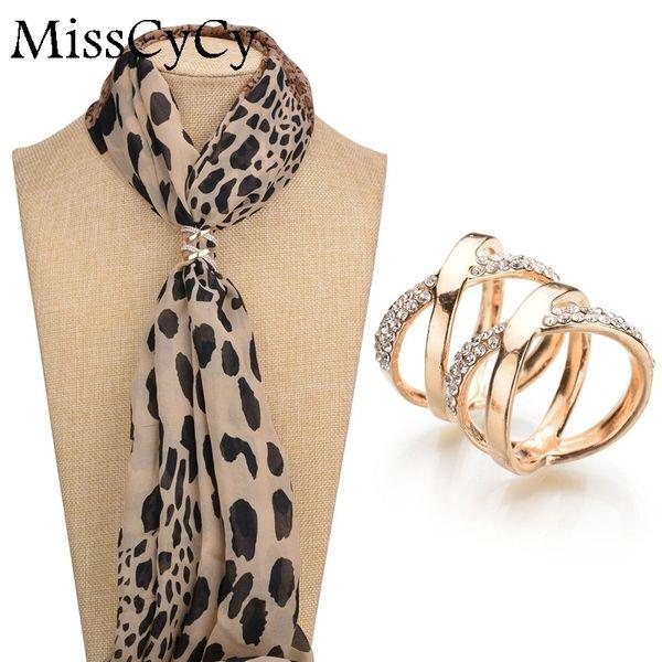 Vente en gros- MissCyCy coréenne mode femmes bijoux plaqué or CZ diamant broche broches châle écharpe boucle clips