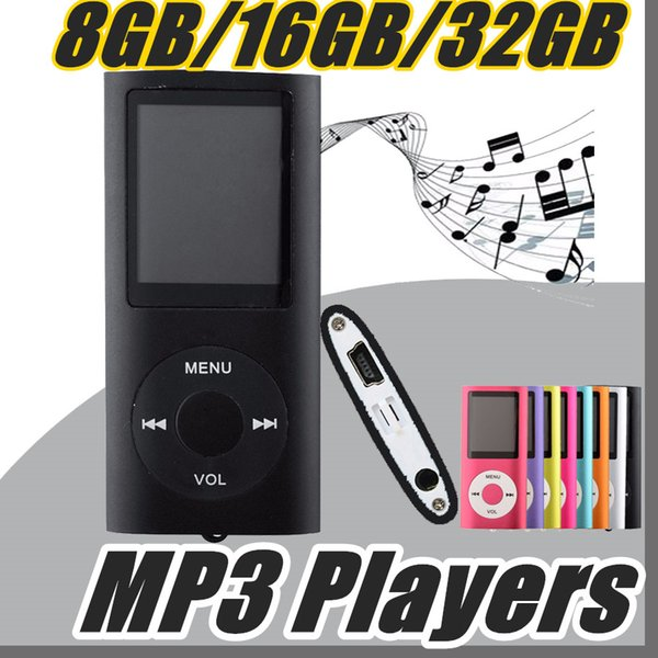 "DHL 2017 MP3 MP4 Player Slim 4TH 1.8""LCD Video Radio FM Player With 8GB 16GB 32GB Micro SD TF Card Mp4 4th Genera B-MF"