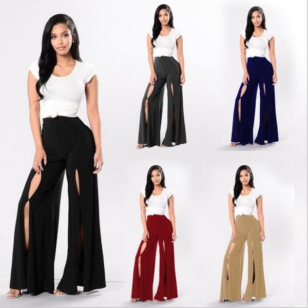 Wide Leg Pants Casual Loose Bloomers Women Hole Flare Pants Summer Sexy Palazzo Capris Trousers Fashion Harem Pants Lady Long Slacks B2757