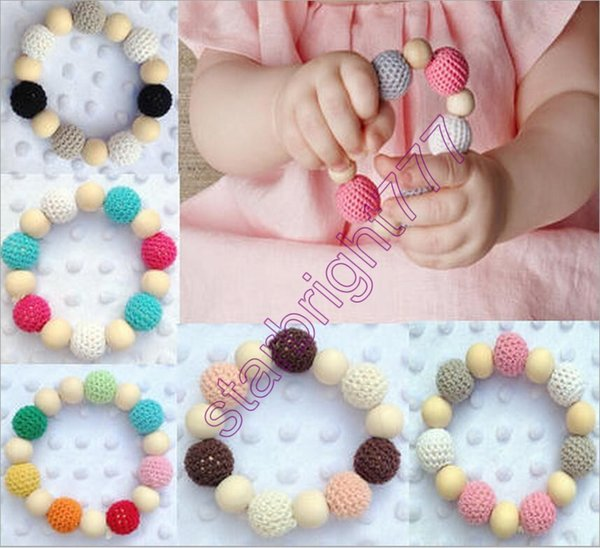 Ins Infant Baby Wool Ball Soothers Teethers Beads Baby Boys girls Wooden Teething Training Nursling Raw Wood Teeth Baby Toys 7colors choose
