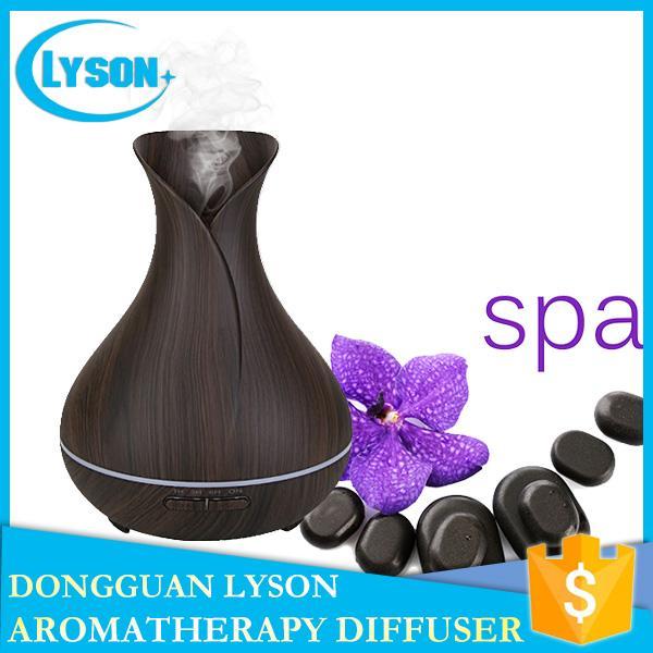 7 colores LED Mood Mist 300 ml difusor de aromaterapia de aceite esencial ultrasónico Cool Mist grano de madera difusor de aroma humidificador