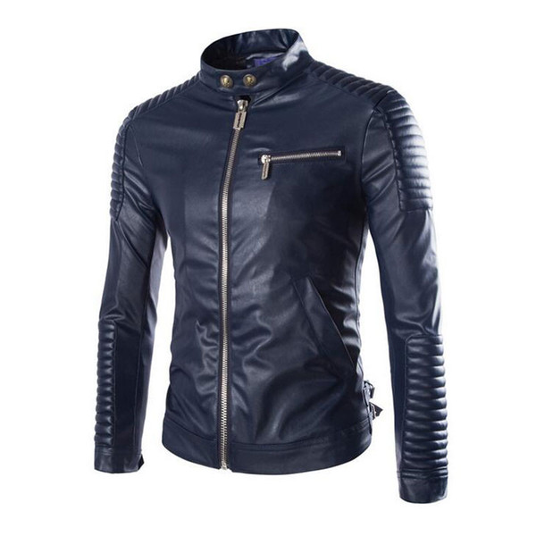 Wholesale- 2016 New Brand Motorcycle Leather Jackets Men Stylish Jaqueta Couro Masculine Stand Collar Fashion Design White Black Navy Blue