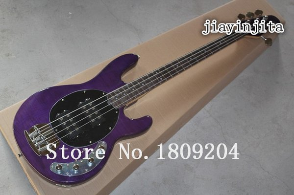 best selling Wholesale-Wholesale High quality Purple Music Man StingRay 4 string Electric Bass guitar with 9 V Battery active pickups
