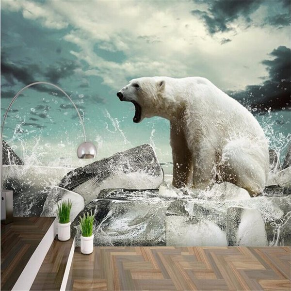 Wholesale- photo wall paper Modern minimalist White polar bear living room wallpaper animal nature wall mural wall paper painting 3d