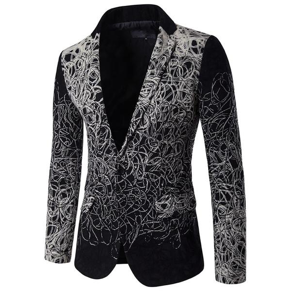 Atacado-West Men Ternos Slim Custume Trabalho Escritório terno de negócio Tailor Blazer Formal Desgaste Do Casamento Geométrico preto plus size 5XL