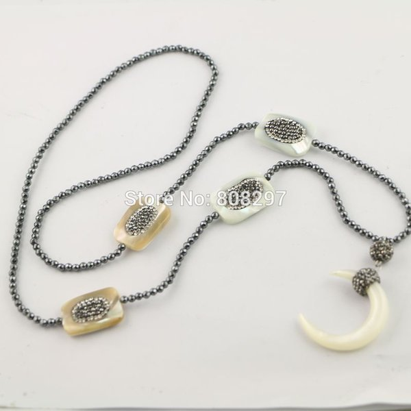 Wholesale 3 strands pave rhinestone shell gem stone necklace with 3 strands pave rhinestone shell gem stone necklace with 3mm mini black hematite beads and crescent aloadofball Image collections