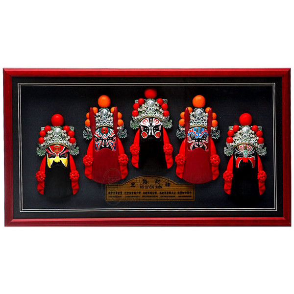 Photo frame, relief, Beijing opera, facial make-up, wall hanging, five road, mammon, living room, hotel decorations, business gifts, post an