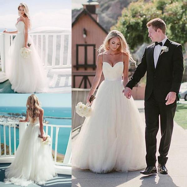Pure White Beach aline Wedding Dresses 2017 Backless Sweetheart Floor Length Vestido De Noiva Simple Bridal Gowns Cheap