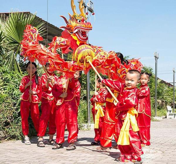 Tela infantil con estampado de seda roja CHINESE Kid DRAGON DANCE Folk Festival Celebration Costume dragon mascot costume