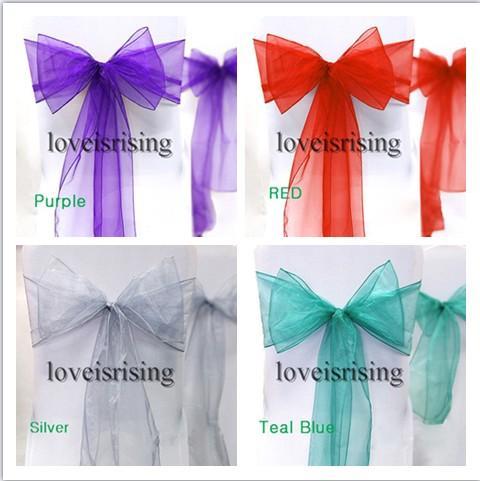 "20 colors--25pcs/lot 8"" (20cm) W x 108"" (275cm) L Organza Chair Sashes Wedding Party Banquet Decor--Free Shipping"