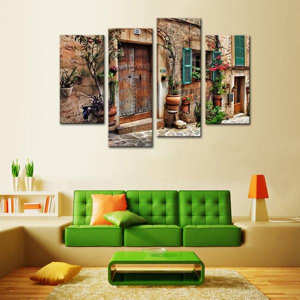 Acheter 4 Panneaux Mur Art Espagnol Vieille Ville Rue Toile Peinture Paysage Photo Imprimer Giclée Pour La Décoration En Bois Encadrée De 74 53 Du