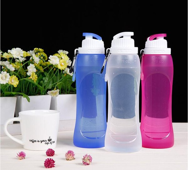 Silicone Water Sport Bottle Folding Collapsible Large Capacity Travel Outdoor Leak Proof Water Bottle 500ml DHL Free Shipping
