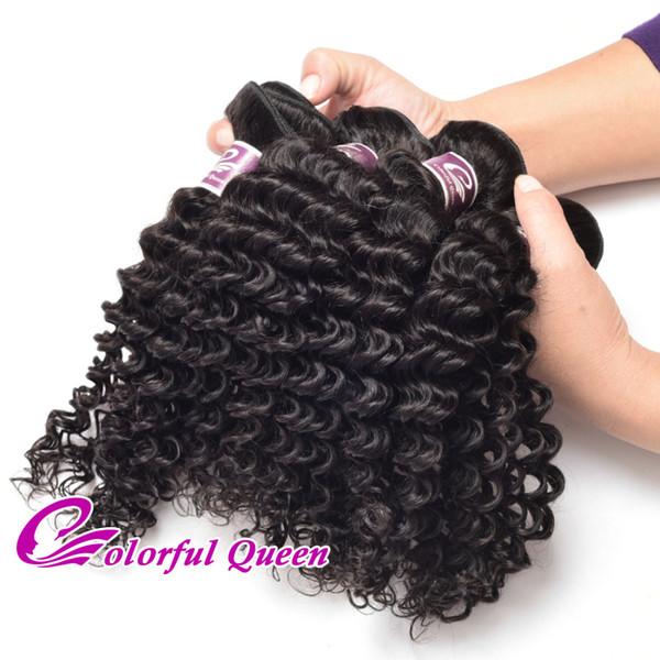 Cheap Brazilian Culry Hair Bundles 3Pcs/Lot 300G Brazilian Deep Wave Human Hair Weaves 7A Grade Virgin Human Hair Extensions Natural Black