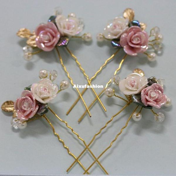Ceramic Hairpins Party Hair Accessories Birthday Prom Headdress Wedding Hairwear Hair Jewelry Tea Bridal Cocktail Anniversary 2017 New Tiara