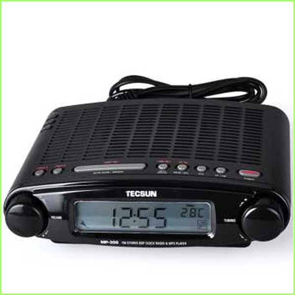 Wholesale-Free shipping TECSUN MP-300 FM DSP Clock Radio USB/MP3 Player high sensitivity stereo radios+ATS+retail package
