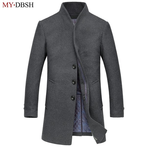 Wholesale- New Style Mens Fashion Long Trench Coat Male Winter Overcoat High Quality Thick Men Casual Stand Collar Splice Woolen Jackets