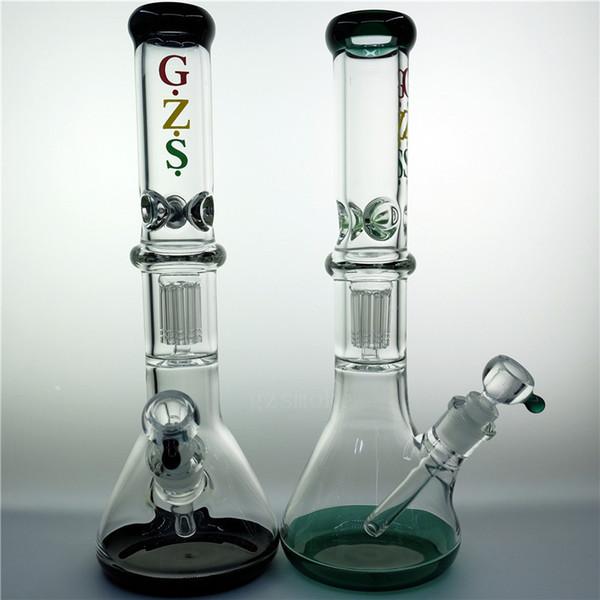 Bong Beaker Bongs Glass Water Pipes Tubo de cristal Ice Catcher 7 mm Grueso de vidrio 8 brazos perc downstem reloj de arena hitman embriagadores hookahs