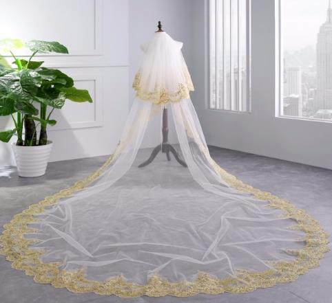 Luxury 3.5 Meters Full Gold Lace Edge Two Layers Long Wedding Veils with Comb White Ivory Bridal Veil velo de novia