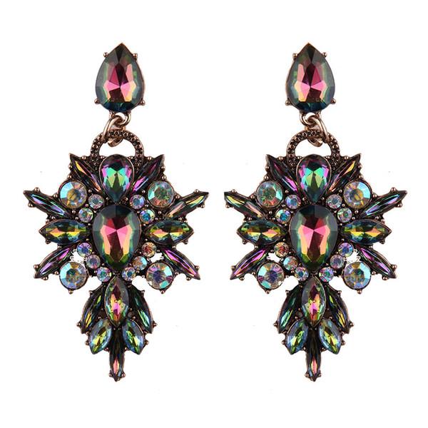 New Colorful Flower Big Brand Design Luxury Starburst Pendant Crystal Stud Gem Statement Earrings Jewelry