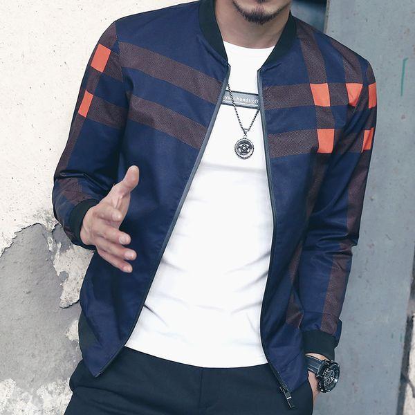 Fashion Baseball Collar Jackets For Men Plaid Design Motorcycle Male Jacket Coats 2016 New Arrival Windbreaker Jackets Man 5XL-M