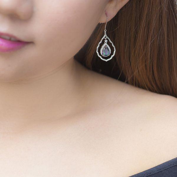 Top Sale Fashion Elegant Generous Beautiful Earrings Jewelry Lead The Fashion Trend Of Simple Love Long Dangle Drop Earrings 18K White Gold