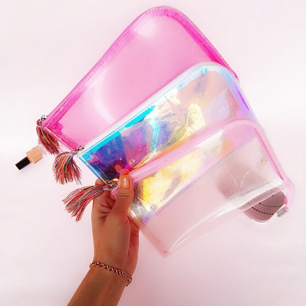 top popular Girls Style Portable Transparent Glittering Cosmetic Bag Tassels Zipper Travel Make Up Bag Letter Makeup Case Pouch Toiletry Organizer 2019