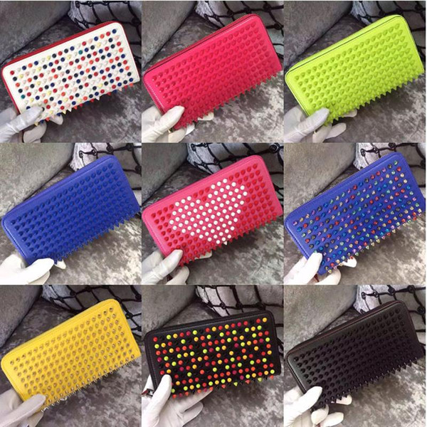 Mixed Color Rivets Wallet Genuine Leather Spike Purse Brand Designer Studded Clutch Lady's Fashion Rivets Purse with Zipper