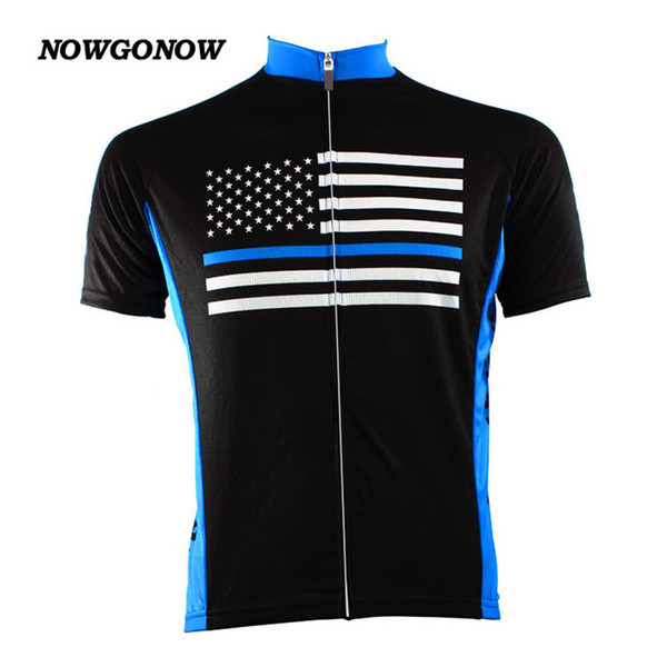 Wholesale custom MEN cycling jersey United States flag classic Retro clothing bike wear mtb road maillot ropa ciclismo nowgonow black blue