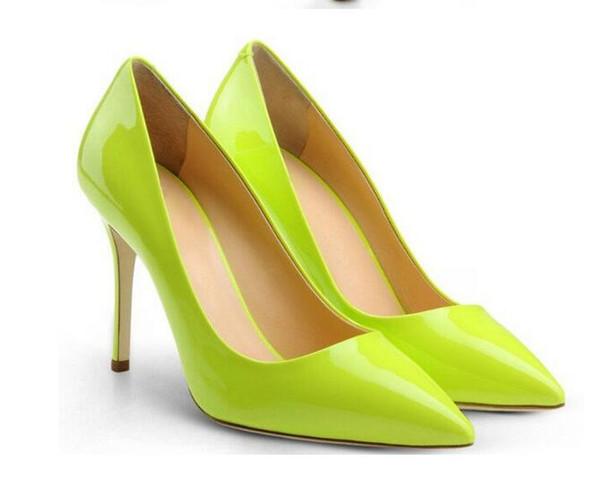 Fashion Ladies Pumps Light Green Patent Leather Women Dress Shoes Pointed Toe Thin High Heel Slip On Sapatos Femininos